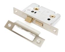 """Nickel Plated 2 1/2"""" Standard Bathroom Mortice Lock"""