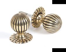 Aged Brass Flower Mortice Knob Set