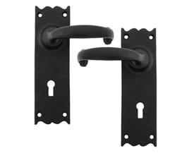 Black Cottage Lever Lock Set