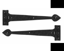 """Antique T Hinge 16"""" (pair) - Black"""