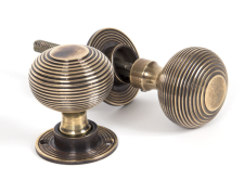 Aged Brass Heavy Beehive Mortice/Rim Knobs