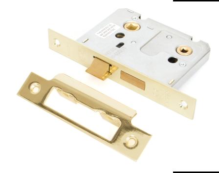 "Polished Brass 3"" Standard Bathroom Mortice Lock"