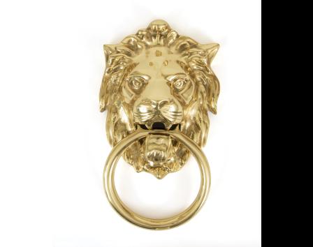 Lion's Head Door Knocker - Polished Brass