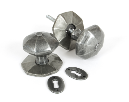 Pewter Octagonal Mortice/Rim Knob Set - Large