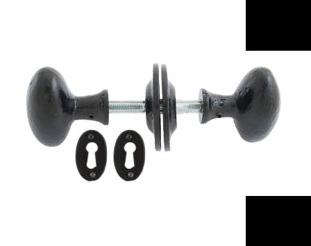 Black Oval Mortice/Rim Knob Set
