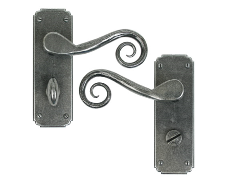 Pewter Monkeytail Lever Bathroom Set