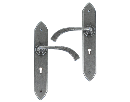 Pewter Gothic Curved Sprung Lever Lock Set