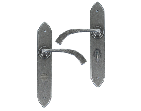 Pewter Gothic Curved Sprung Lever Bathroom Set