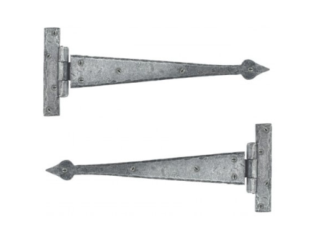 Pewter 12'' Arrow Head T Hinge (pair)