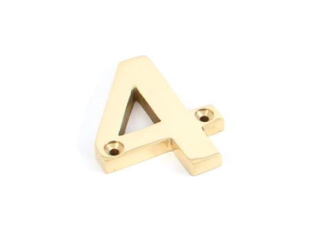 Polished Brass Numeral 4