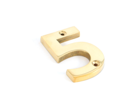 Polished Brass Numeral 5