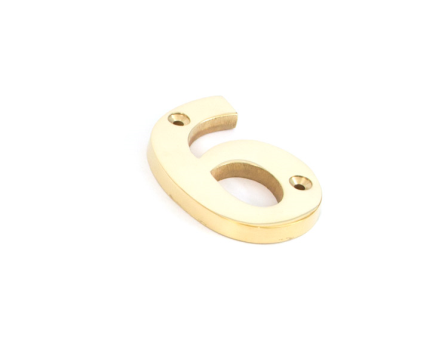 Polished Brass Numeral 6
