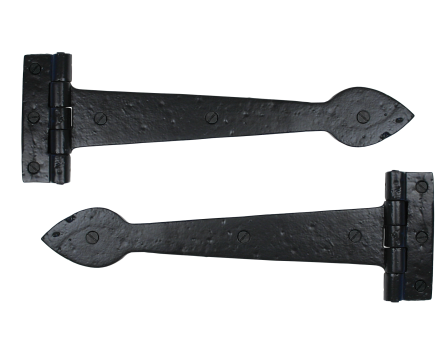 Black 12'' Smooth T Hinge (pair)