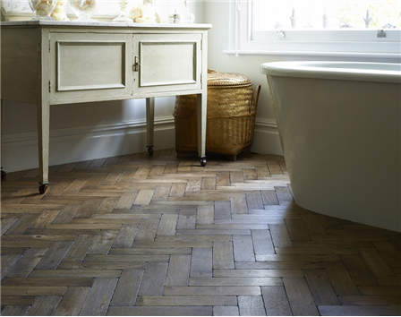 Worn Vintage Oak Parquet Flooring