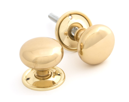 Polished Brass Mushroom Knob Set