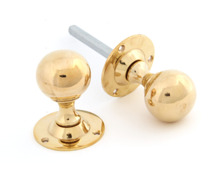 Polished Brass Ball Mortice Knob Set