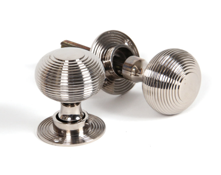 Polished Nickel Heavy Beehive Mortice/Rim Knobs