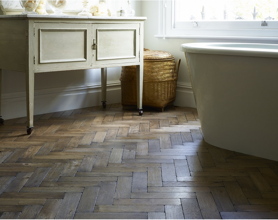 Worn Vintage Oak Parquet Flooring